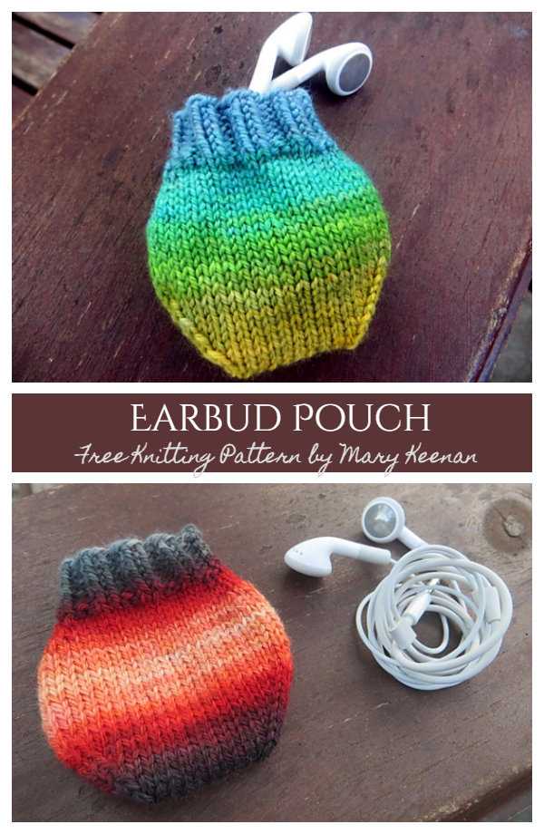 Knit Earbud Pouch Free Knitting Patterns