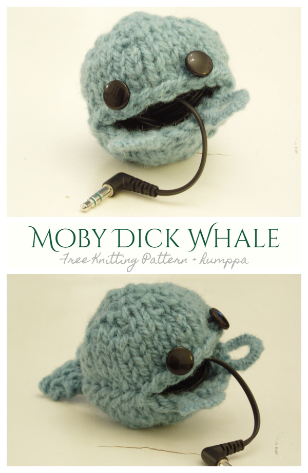 Knit Whale Earbud Pouch Free Knitting Patterns