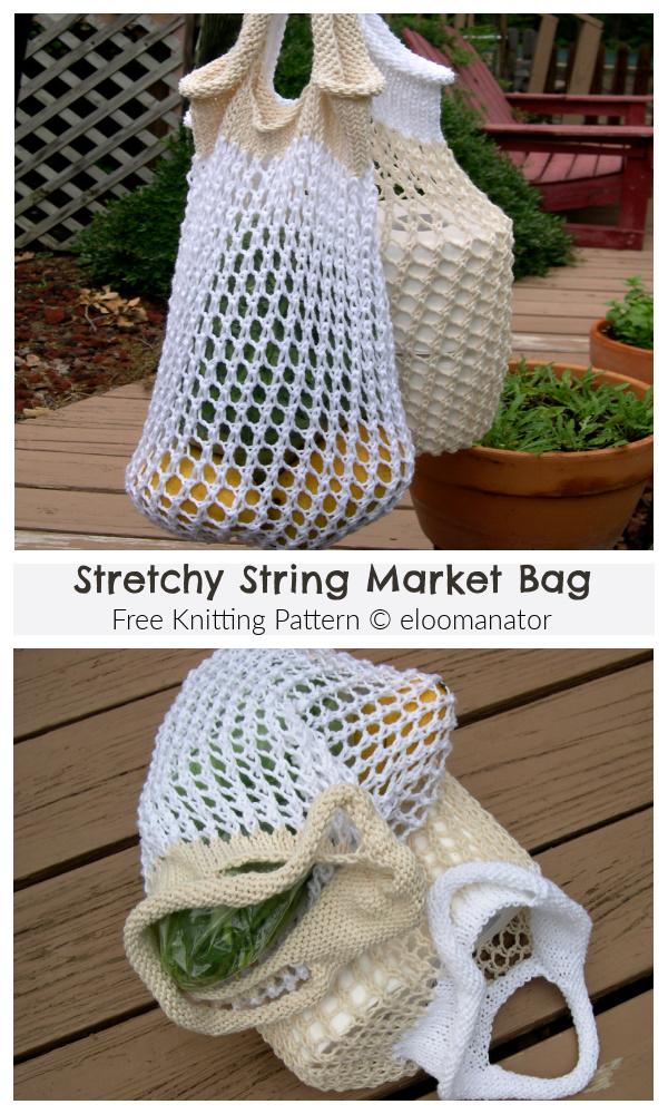 Stretchy String Market Bag Free Knitting Patterns