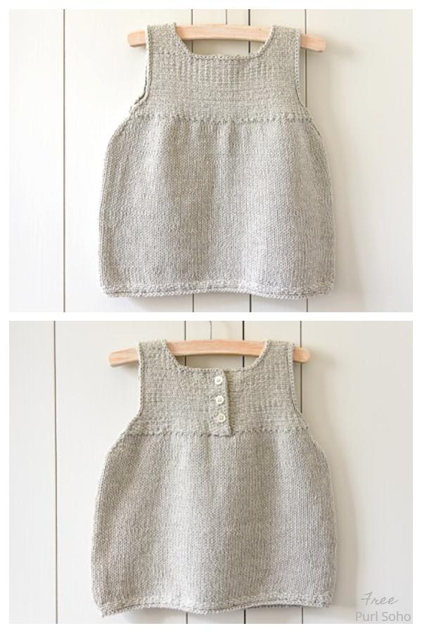 Modelli di maglieria gratuiti per vestiti per bambini puliti e semplici