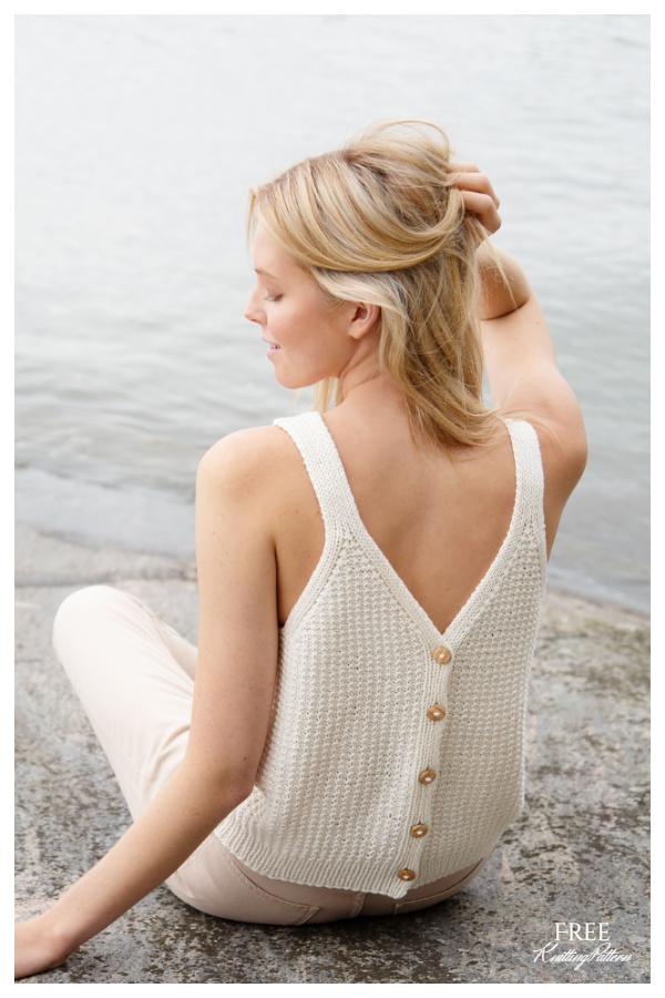Buttoned Sara Top Free Knitting Patterns