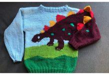 Kids Dino Sweater Free Knitting Pattern