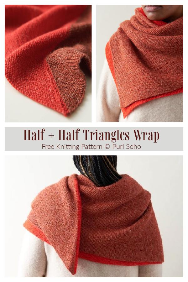Knit Half + Half Triangles Wrap Shawl Free Knitting Pattern