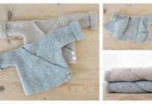 Knit Garter Stitch Baby Wrap Cardigan Free Knitting Pattern