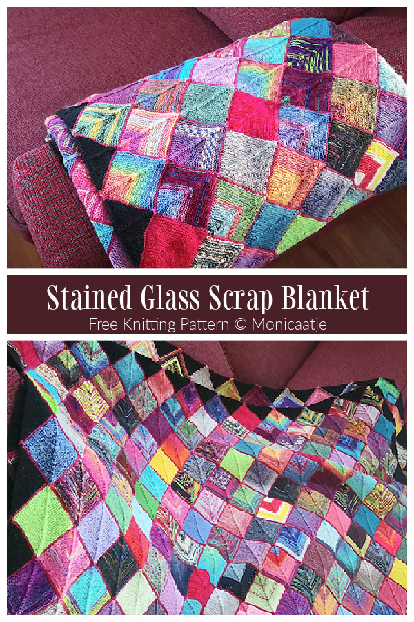 Mitered Stained Glass Scrap Blanket Free Knitting Pattern