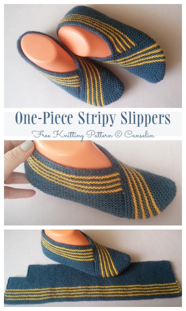 One-Piece Knit Stripy Slippers Free Knitting Pattern + VideoOne-Piece Knit Stripy Slippers Free Knitting Pattern + Video