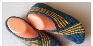 One-Piece Knit Stripy Slippers Free Knitting Pattern + Video