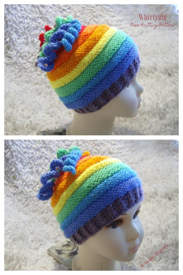 Ridges Whirlygig Hat Free Knitting Patterns