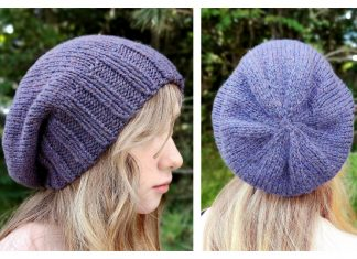 Simple Slouch Beanie Hat Free Knitting Pattern
