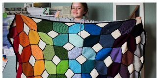 Knit Stained Glass Afghan Blanket Free Knitting Pattern