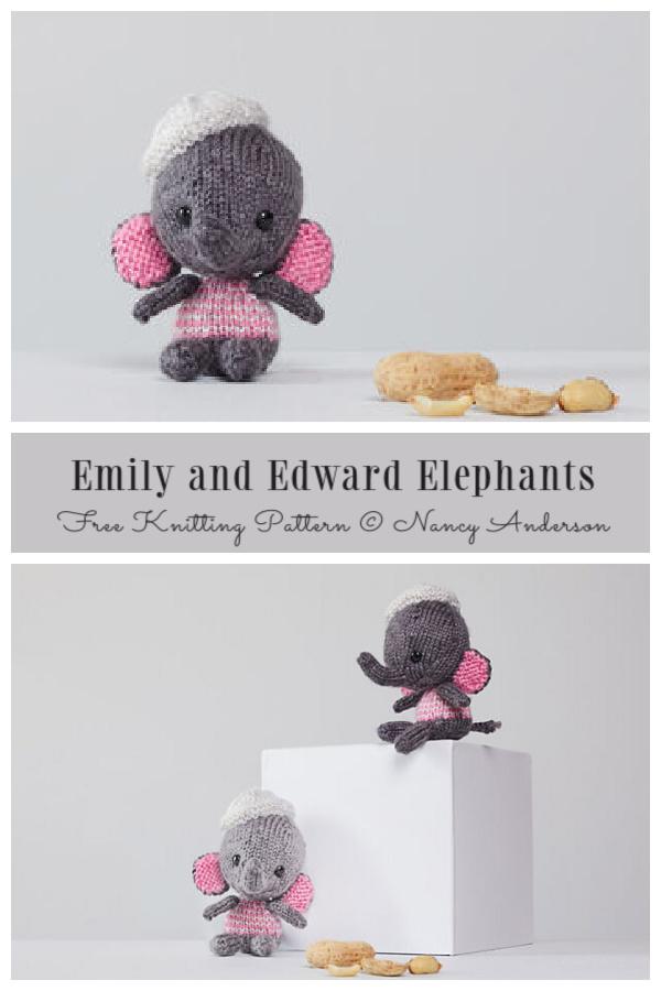 Amigurumi Little Emily and Edward Elephant Free Knitting Pattern