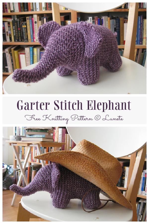 Amigurumi Garter Stitch Elephant Free Knitting Pattern