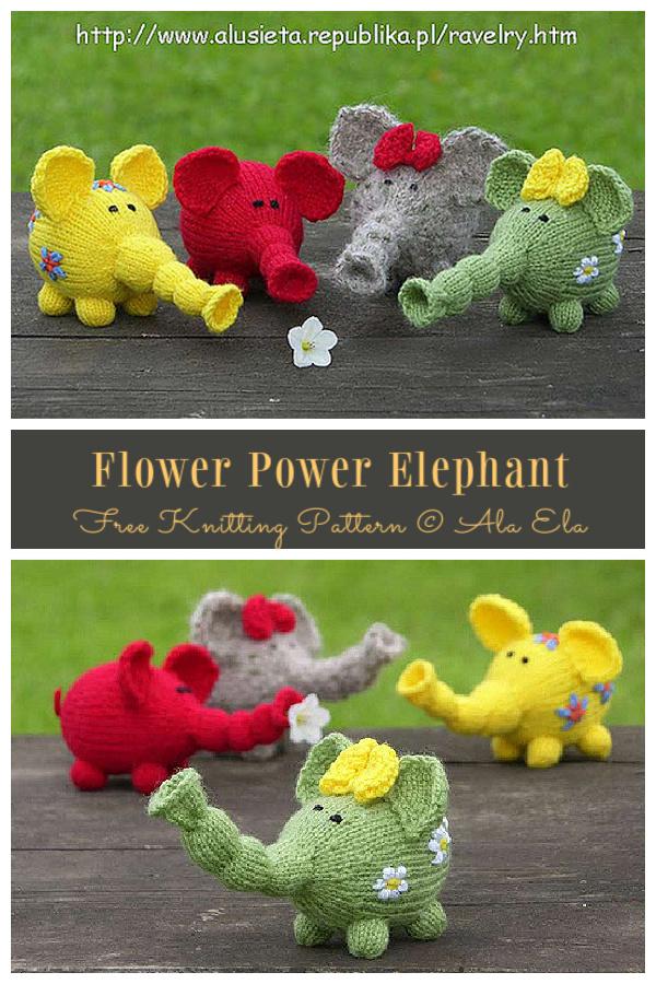 Amigurumi Flower Power Elephant Free Knitting Pattern
