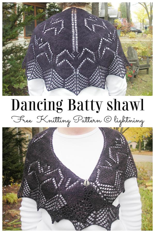 Dancing Batty Shawl Free Knitting Patterns