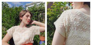 Bobble Flower Buddleia Blouse Free Knitting Pattern