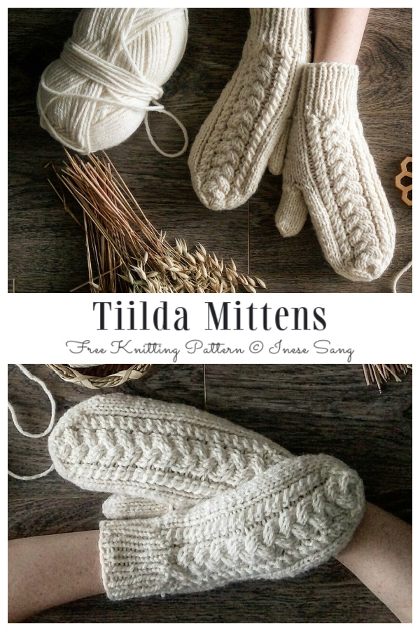 Tiilda Cable Mittens Free Knitting Patterns