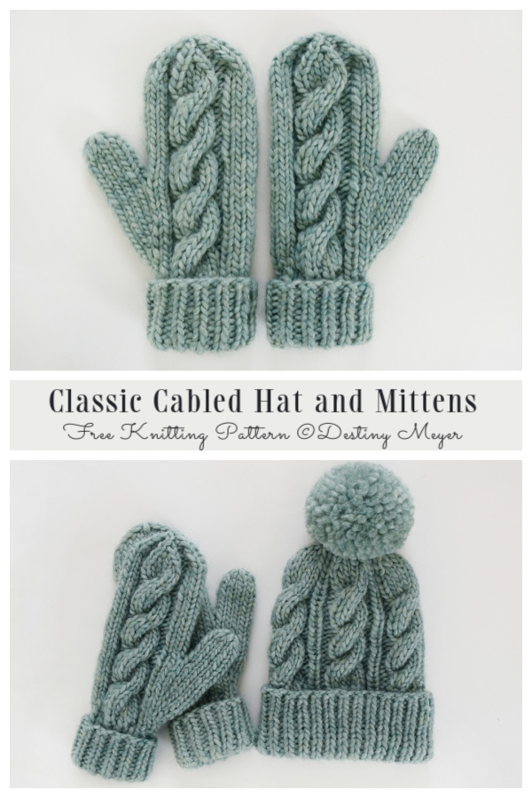 Classic Cabled Hat and Mittens Free Knitting Patterns