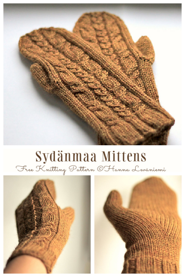 Sydänmaa Heartland Cable Mittens Free Knitting Patterns