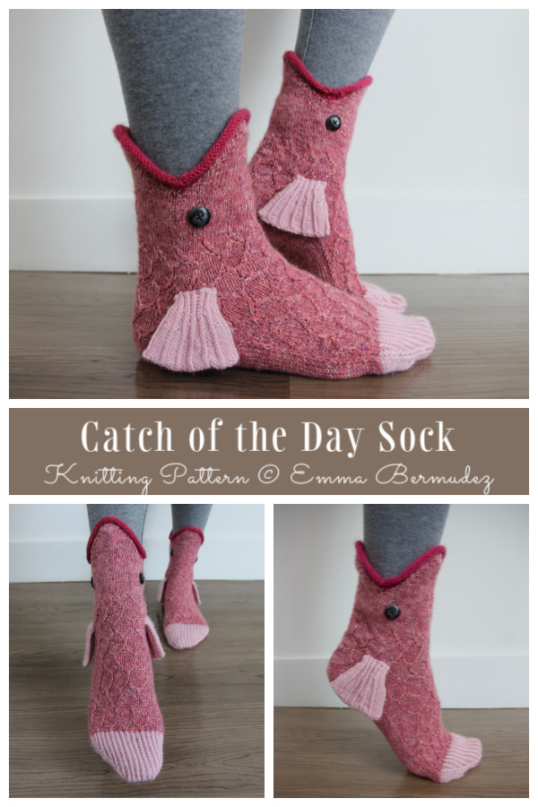 Knit Catch of the Day Fish Sock Knitting Pattern