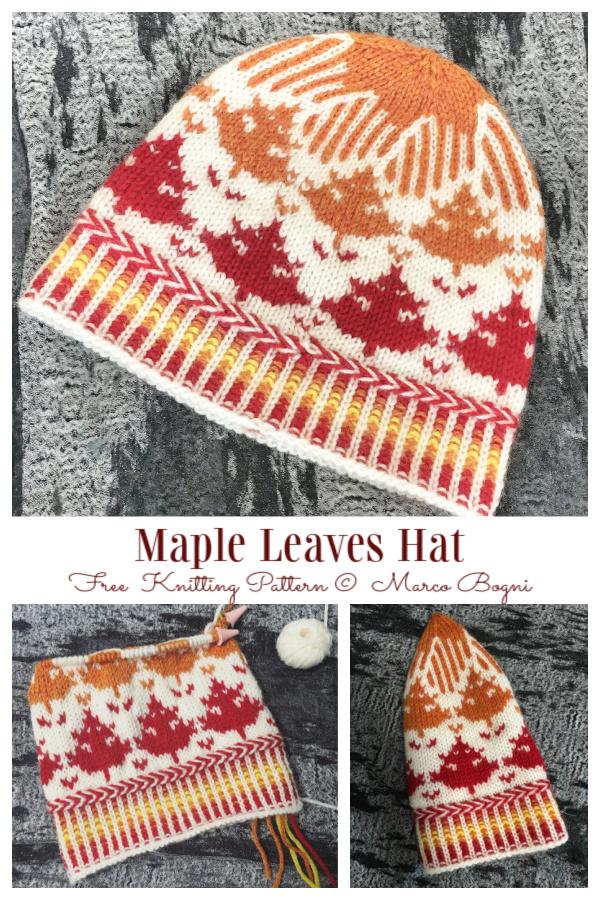 Fair Isle Leaf Hat Free Knitting Pattern