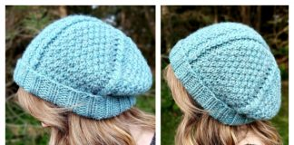 Moss and Vines Slouch Beanie Hat Free Knitting Pattern