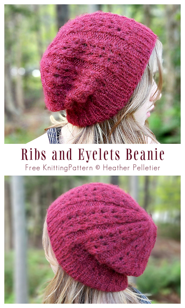 Ribs and Eyelets Beanie Hat Free Knitting Pattern
