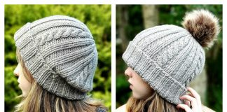 Simple Ribs and Cables Beanie Hat Free Knitting Pattern