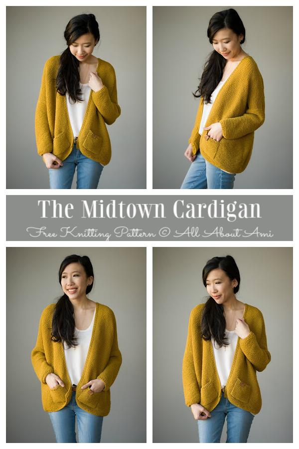 Garter Stitch Midtown Cardigan Free Knitting Patterns