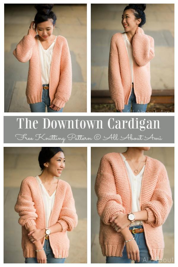 Women Garter Stitch Downtown Cardigan Free Knitting Patterns