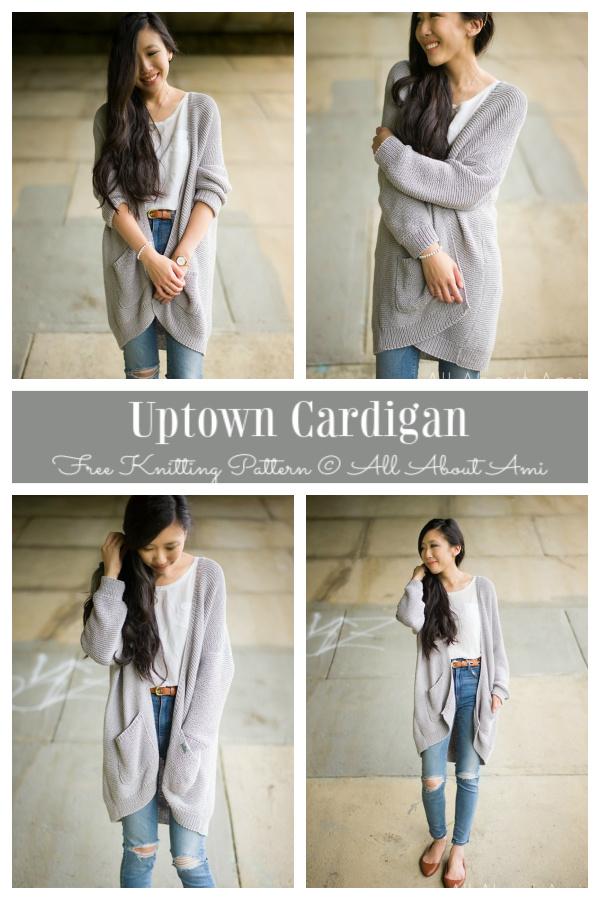 Garter Stitch Uptown Cardigan Free Knitting Patterns