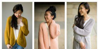 Women Garter Stitch Cardigan Free Knitting Patterns