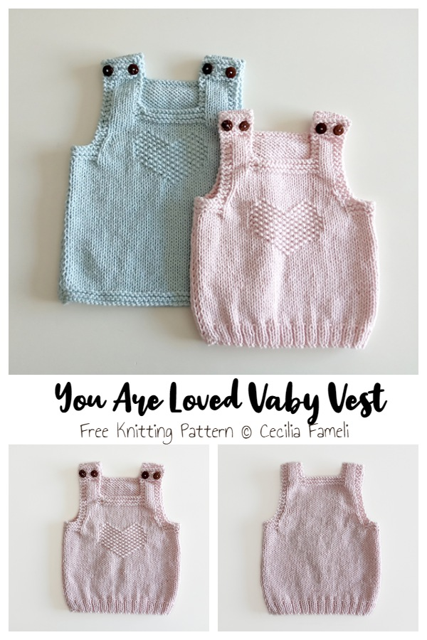 YOU ARE LOVED Baby Vest Free Knitting Patterns