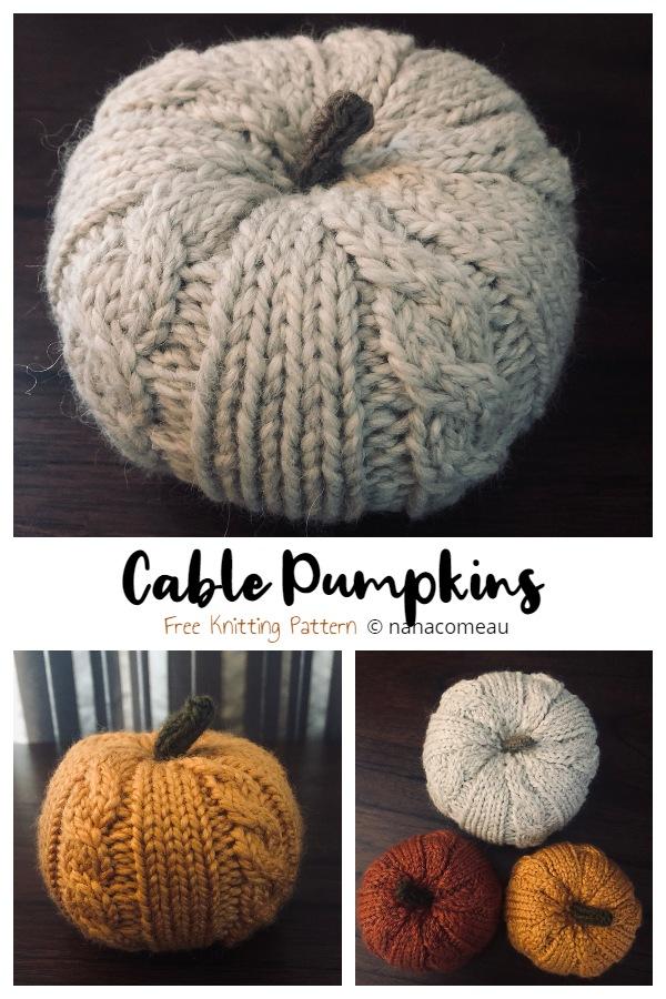 Cable Knit Pumpkin Free Knitting Patterns