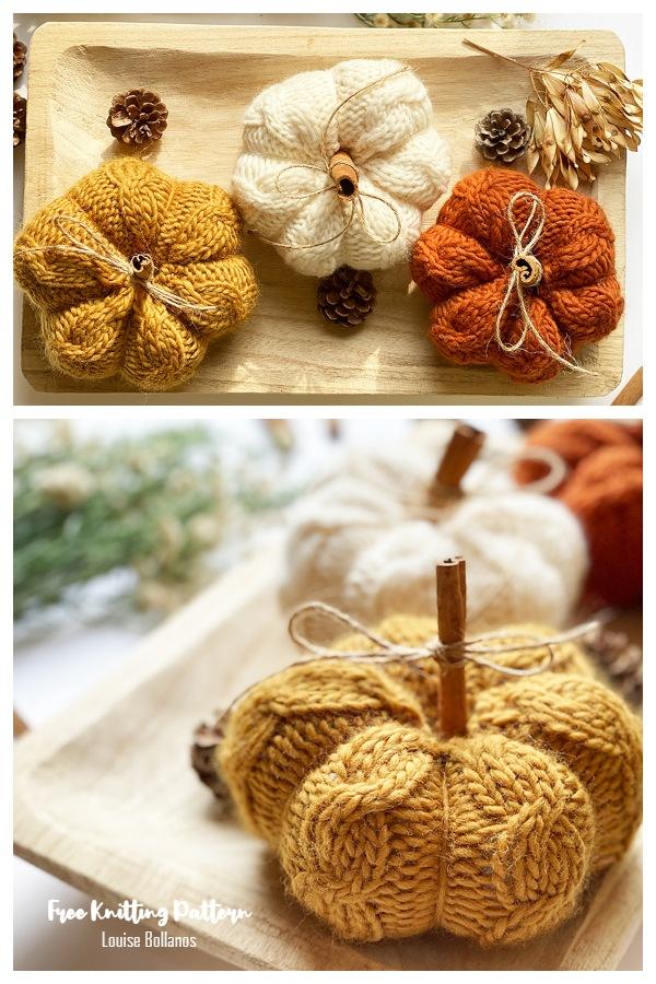 Cinnamon Cable Knit Pumpkins Free Knitting Patterns