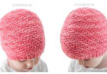 Knit Diagonal Weave Hat Free Knitting Pattern