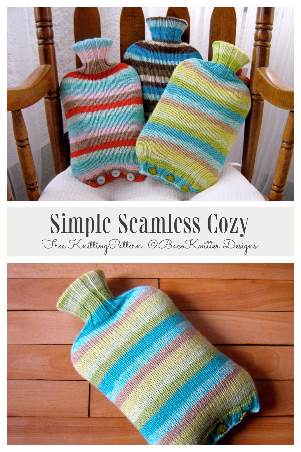 Simple Seamless Bottle Cover Free Knitting Patterns