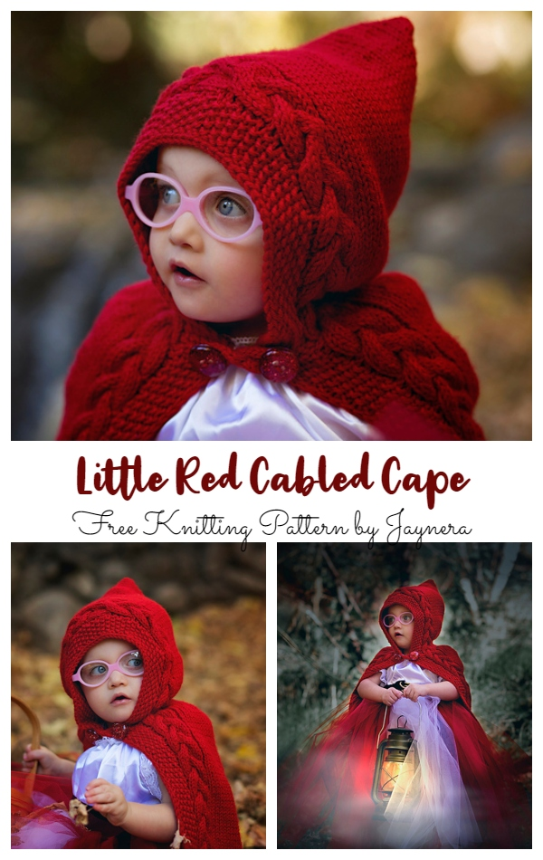 Little Red Cabled Cape Free Knitting Patterns