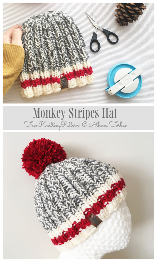 Knit Monkey Stripes Hat Free Knitting Patterns