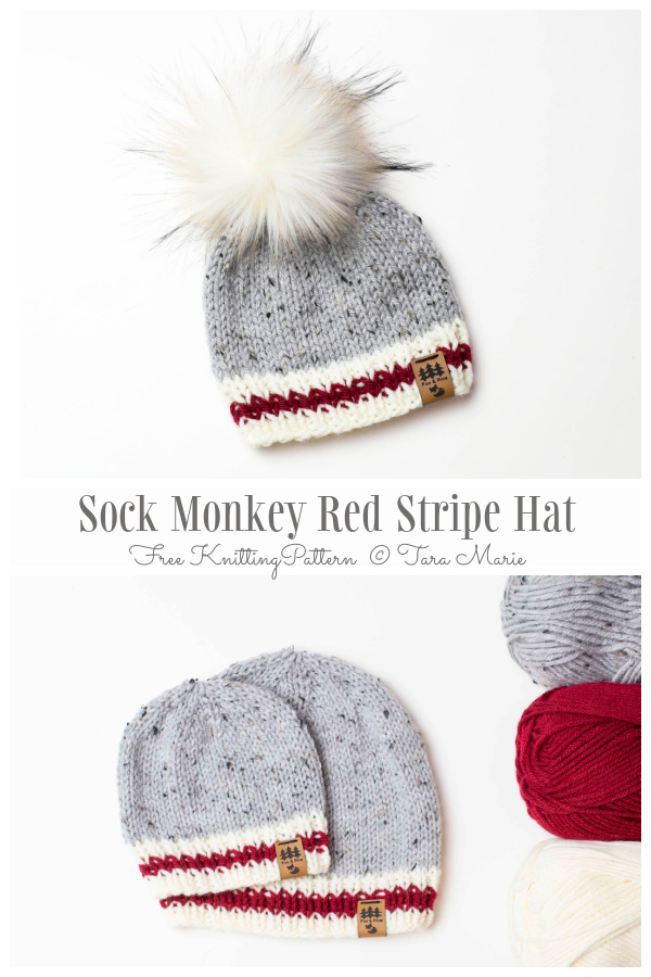 Sock Monkey Red Stripe Hat Free Knitting Patterns