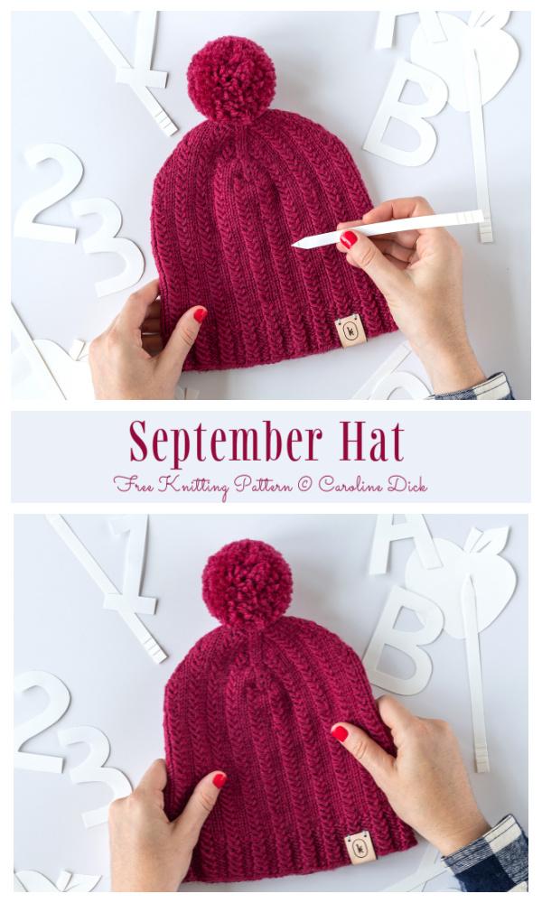 Knit September Hat Free Knitting Pattern