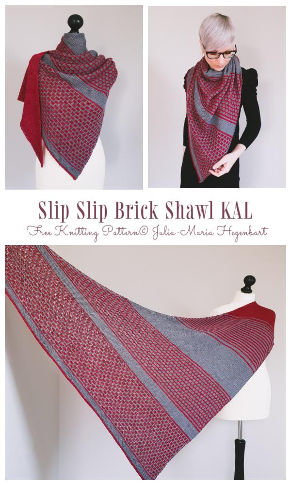 Knit Slip Slip Brick Shawl Free Knitting Pattern
