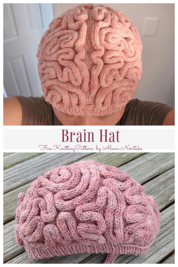 Knit Brain Hat Free Knitting Pattern