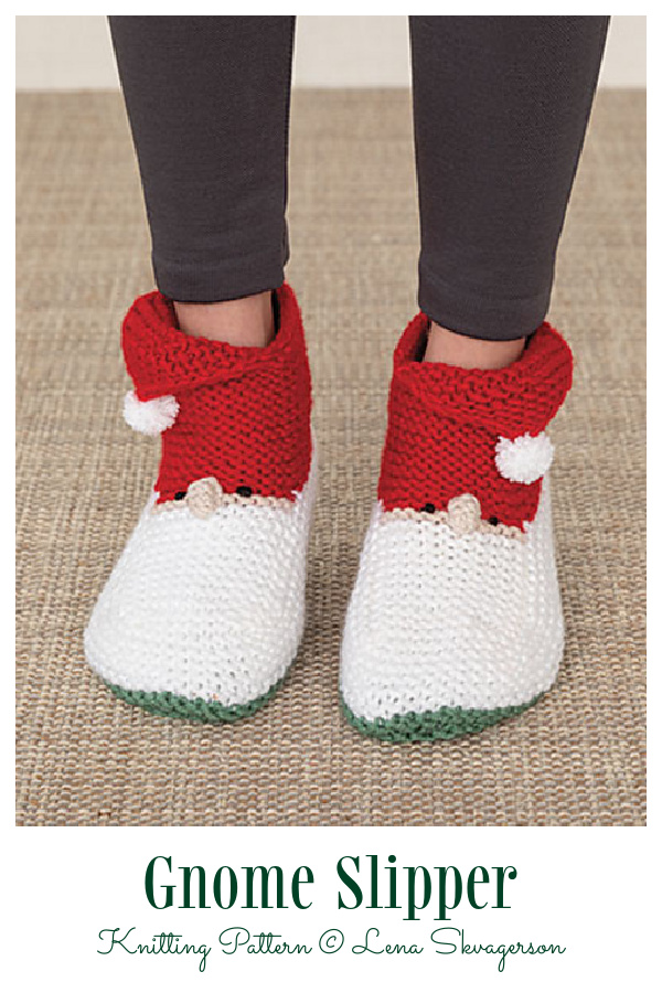 Christmas Gnome Slippers Knitting Pattern