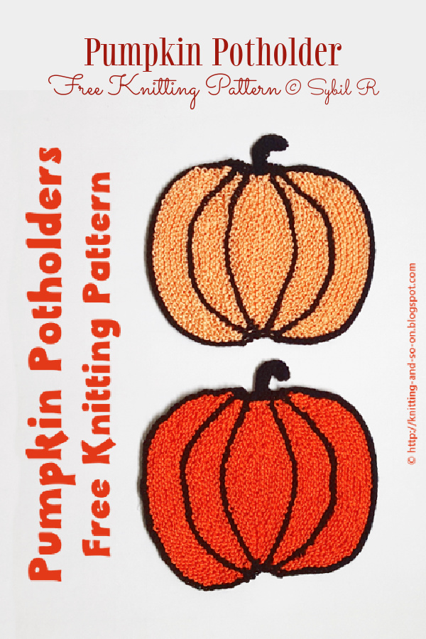Knit Pumpkin Potholders Free Knitting Pattern