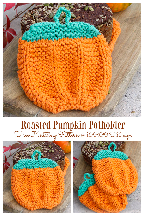 Knit Roasted Pumpkin Potholders Free Knitting Patterns
