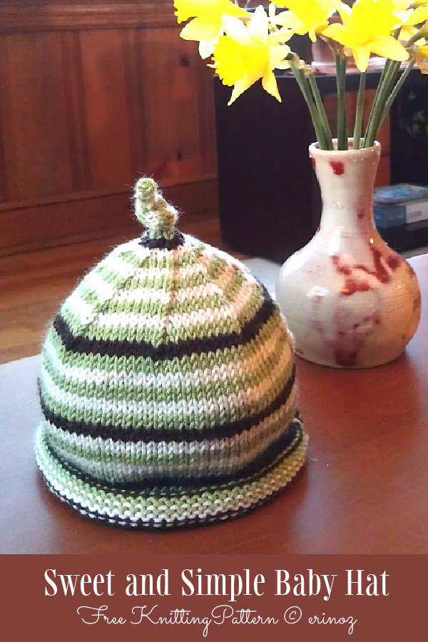 Sweet and Simple Baby Hat Free Knitting Pattern