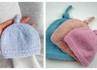 Top Knot Baby Beanie Hat Free Knitting Pattern